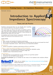 1st image of the Training Course: Impedance Spectroscopy